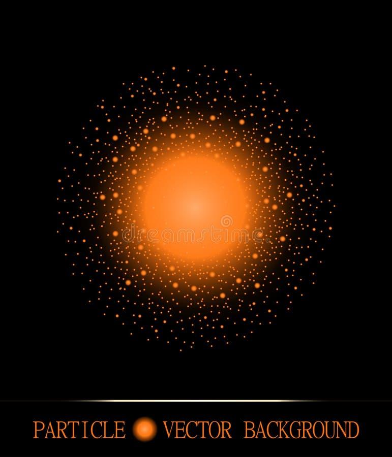 El shpere abstracto de partículas ligeras que brillan intensamente espacia el fondo negro Símbolo de la galaxia Ilustración del v ilustración del vector