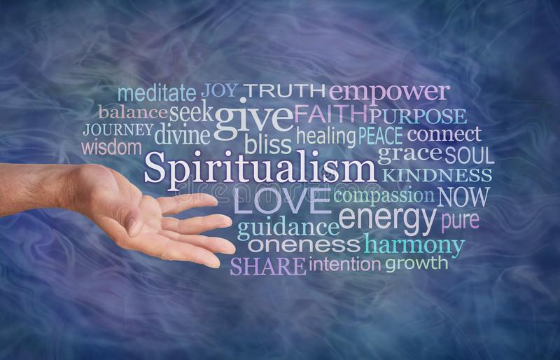 El significado de la nube de la palabra del espiritualismo foto de archivo