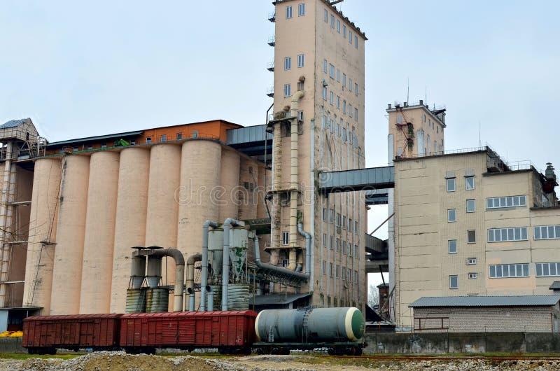 El silo agrícola se utiliza para almacenar la comida, alimentación y otro, equipo de la limpieza de grano, elevadores de cubo, ar imagen de archivo