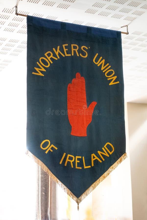 El sindicato de trabajadores estándar de la bandera de Irlanda foto de archivo