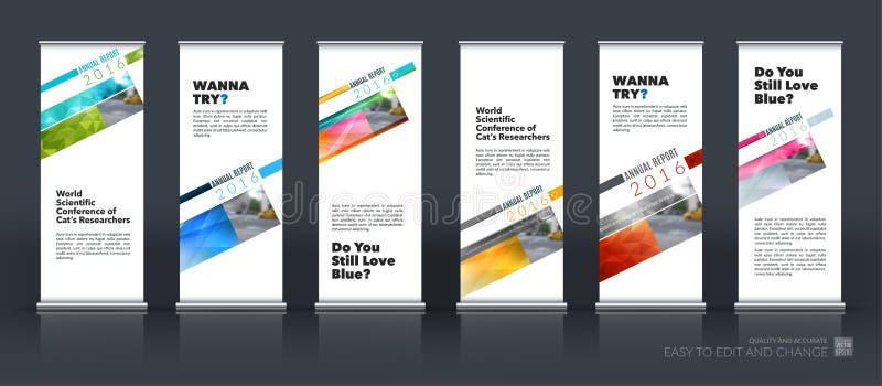 El sistema abstracto del vector del negocio de moderno rueda para arriba el soporte de la bandera libre illustration