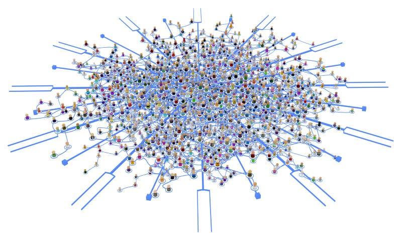 El sistema acodado de la muchedumbre de la historieta, vínculo bifurca stock de ilustración