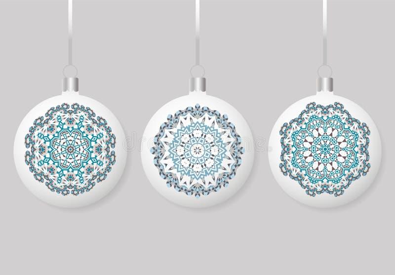 El sistema aisló alrededor de las bolas de la Navidad de la esfera que colgaban en cinta Colección de chucherías con los ornament libre illustration
