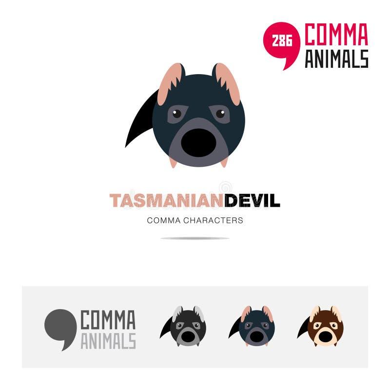 El sistema animal del icono del concepto del diablo tasmano y la plantilla moderna del logotipo de la identidad de marca y el sím ilustración del vector