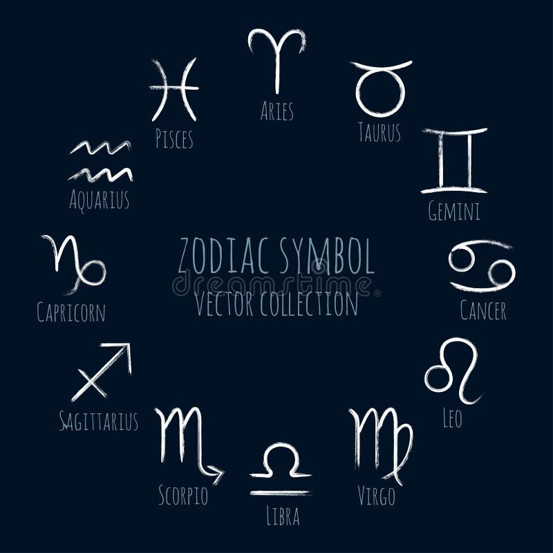 El sistema blanco del vector de los símbolos del zodiaco, colección de astrología pintada a mano firma stock de ilustración