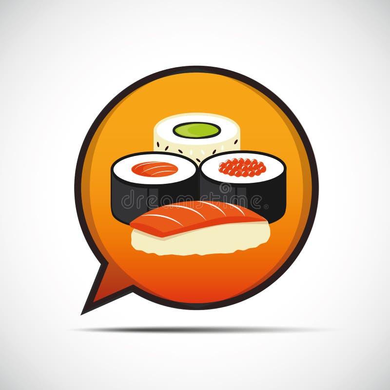 El sistema colorido del sushi de diferente mecanografía adentro una burbuja del spech stock de ilustración