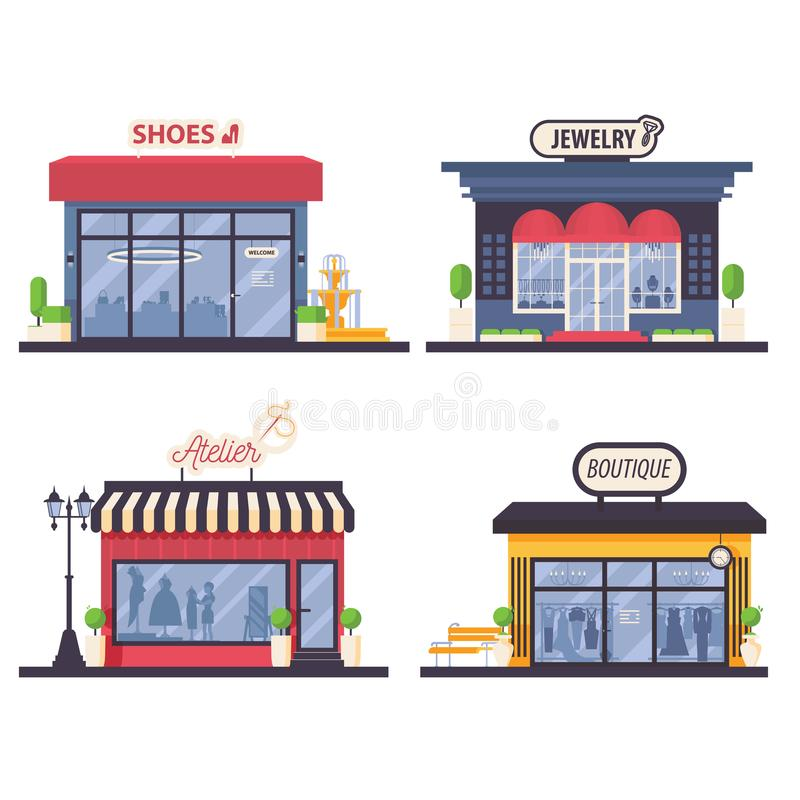 El sistema con el frente plano de la tienda de la moda de la mujer le gusta la joyería, taller, boutique del vestido y los bolsos libre illustration