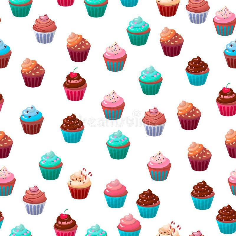 El sistema cremoso de la magdalena del chocolate dulce de la comida aisló el ejemplo del vector libre illustration