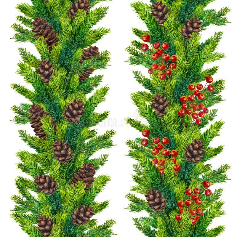 El sistema de abeto inconsútil de las fronteras de la Navidad de la acuarela ramifica libre illustration