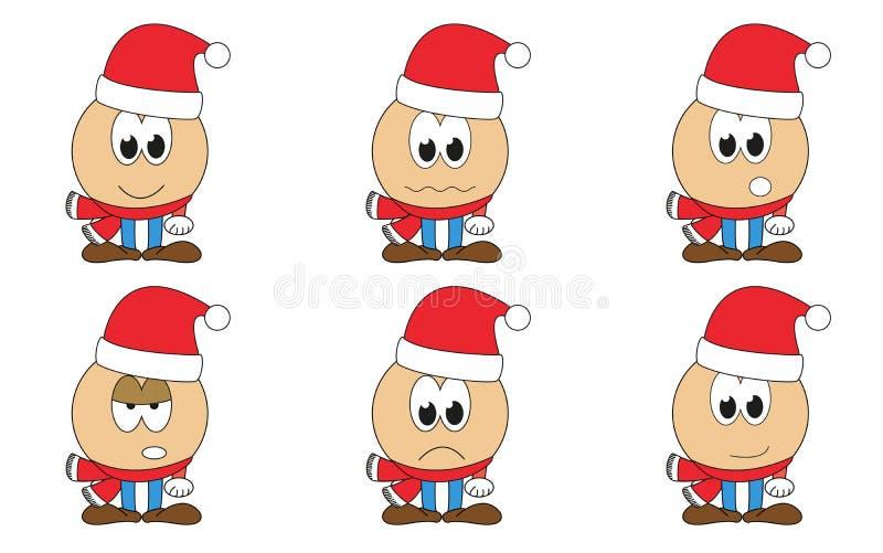 El sistema de 6 aisló los emoticons de Santa Claus de la historieta - caras con xma ilustración del vector