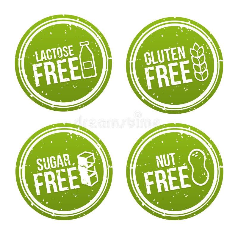 El sistema de alergénico libera insignias Sin lactosa, el gluten libera, azúcar libre, nuez libre Muestras dibujadas mano del vec ilustración del vector