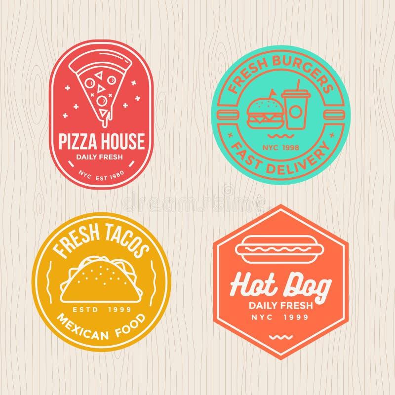 El sistema de alimentos de preparación rápida badges la bandera del logotipo del emblema para la pizza, la hamburguesa, los tacos libre illustration