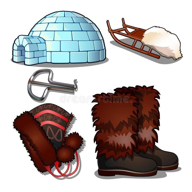 El sistema de artículos de la cultura y de vida de la gente del norte lejano y del Inuit, aislado en el fondo blanco quijada libre illustration