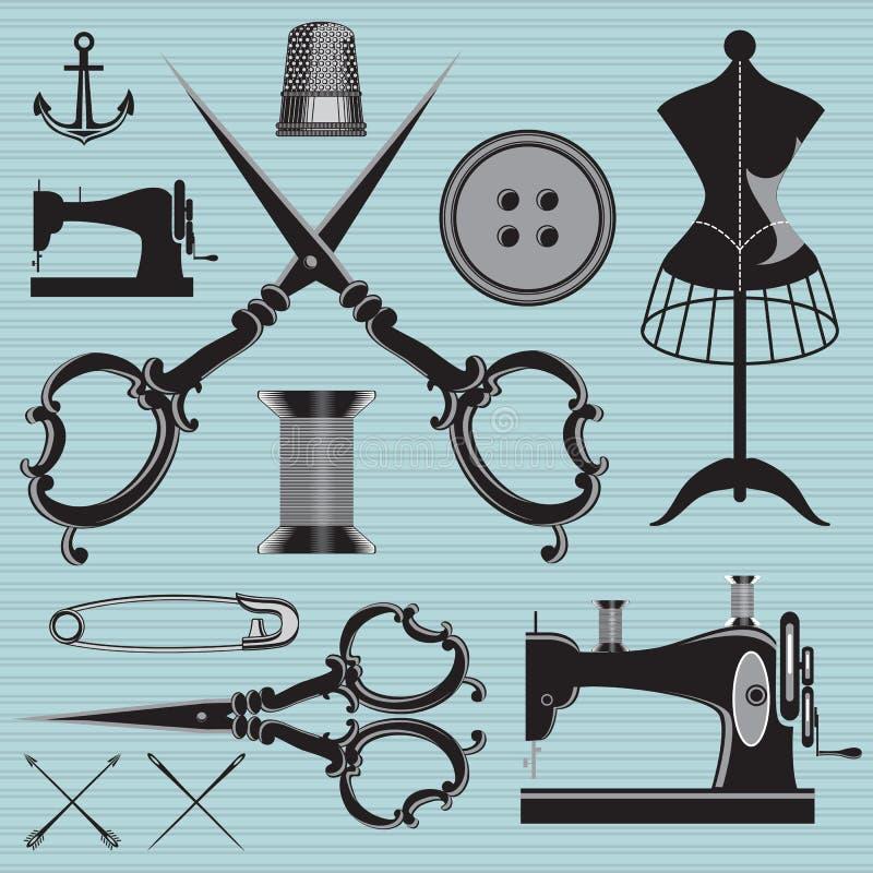 El sistema de artículos y el equipo a los temas adaptan, ropa, reparación ilustración del vector