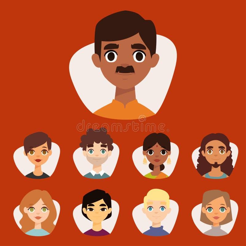 El sistema de avatares redondos diversos con el facial ofrece diversos caracteres de la gente de la ropa y de los peinados de las libre illustration