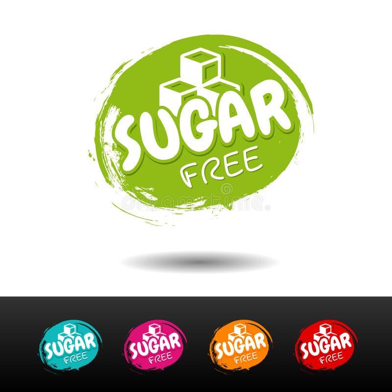 El sistema de azúcar libera insignias Etiquetas dibujadas mano del vector stock de ilustración