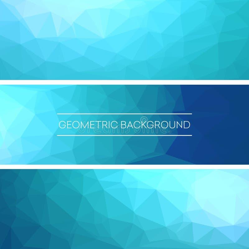 El sistema de banderas azules triangulares poligonales del fondo diseña Ilustración del vector stock de ilustración