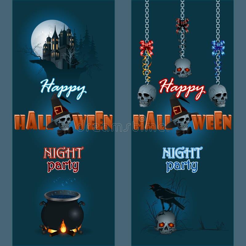 El sistema de banderas con Halloween tres dimensiones manda un SMS y frecuentó al castillo ilustración del vector