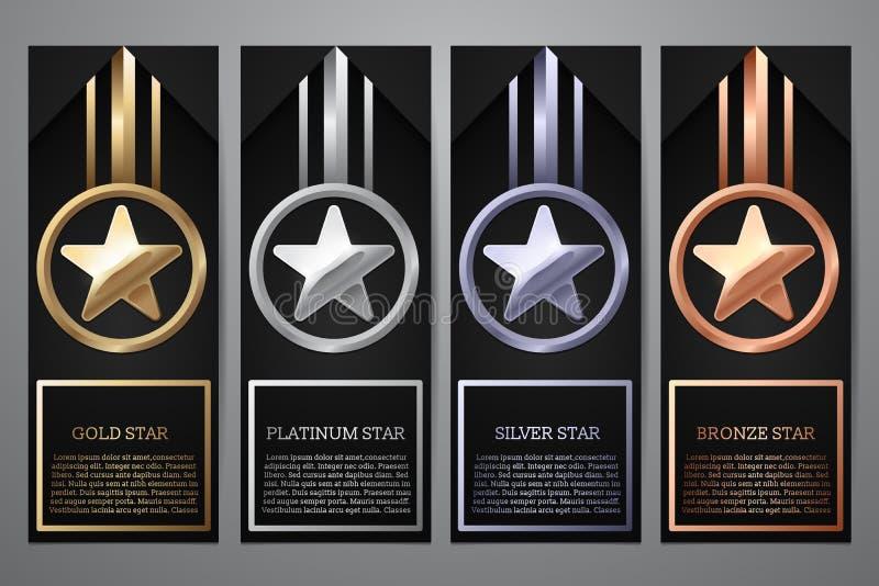 El sistema de banderas negras, el oro, el platino, la plata y el bronce protagonizan, Vector el ejemplo L fotografía de archivo libre de regalías