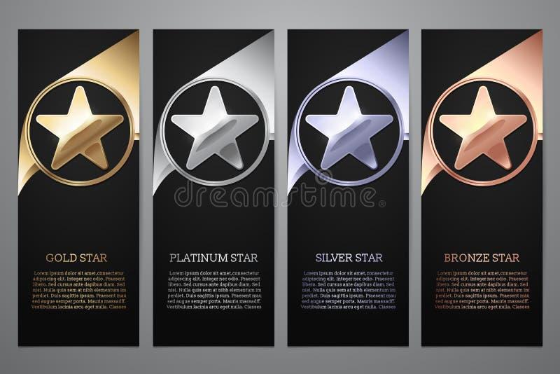 El sistema de banderas negras, el oro, el platino, la plata y el bronce protagonizan, Vector el ejemplo L imágenes de archivo libres de regalías