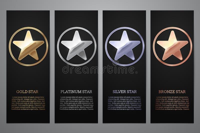 El sistema de banderas negras, el oro, el platino, la plata y el bronce protagonizan, Vector el ejemplo L foto de archivo
