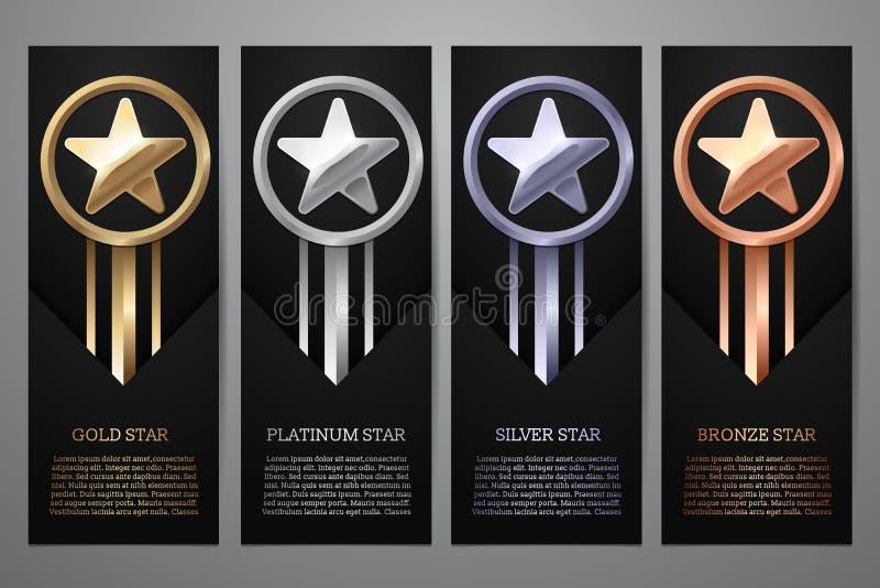El sistema de banderas negras, el oro, el platino, la plata y el bronce protagonizan, Vector el ejemplo L fotos de archivo