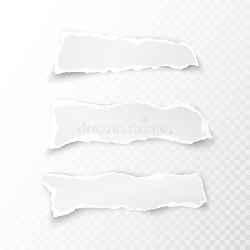 El sistema de blanco rasgó trozos de papel en fondo transparente Ilustración del vector libre illustration