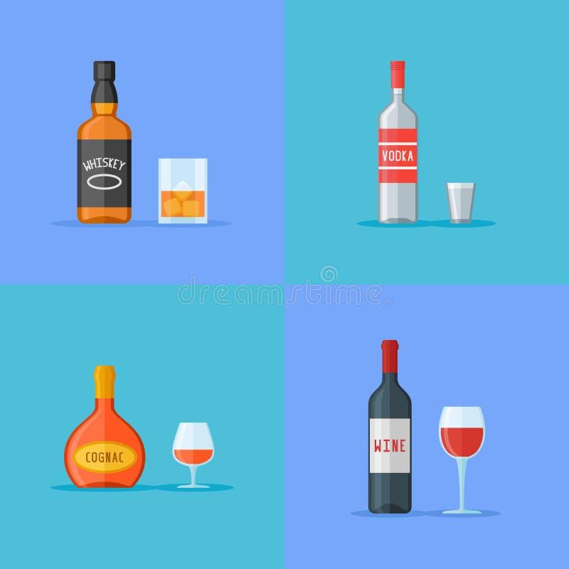 El sistema de botellas y de vidrios con alcohol bebe iconos planos Whisky, vodka, coñac y vino ilustración del vector