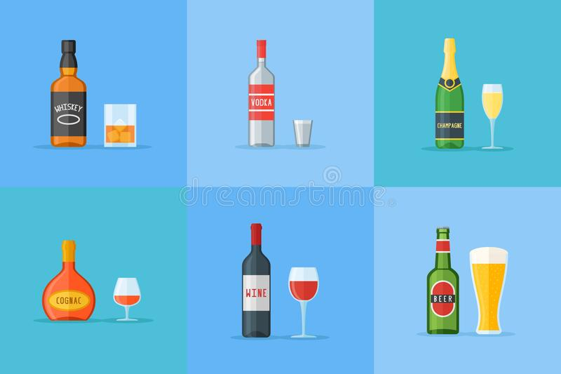 El sistema de botellas y de vidrios con alcohol bebe iconos planos Whisky, vodka, coñac, vino, cerveza y champán libre illustration