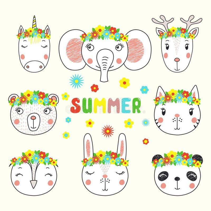 El sistema de caras animales divertidas lindas en flor corona ilustración del vector