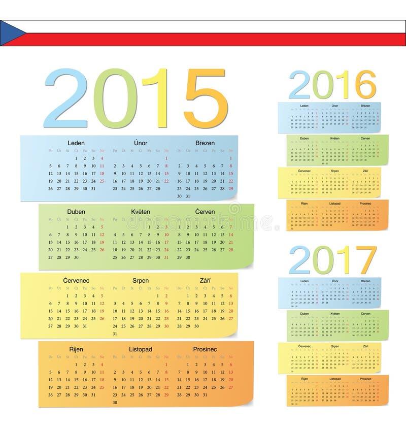 El sistema de Checo 2015, 2016, 2017 colorea calendarios del vector libre illustration