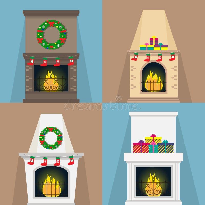 El sistema de chimeneas, con la Navidad atribuye calcetines, de regalos, guirnaldas Chimeneas de diversas formas con la llama Ill libre illustration
