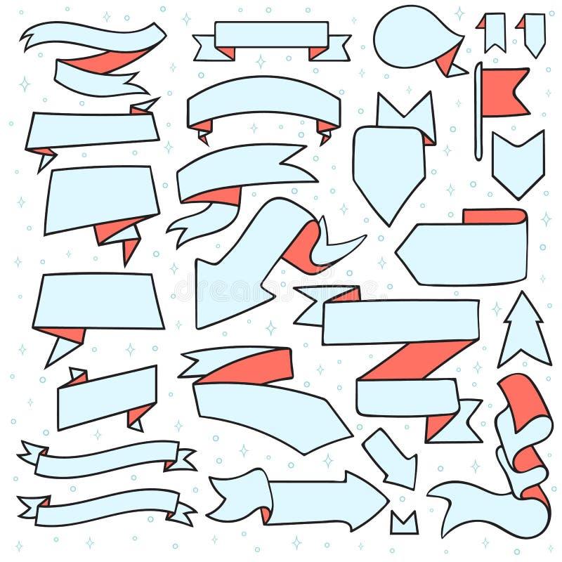 El sistema de 25 cintas y las flechas garabatean hecho a mano ilustración del vector
