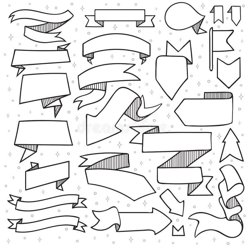 El sistema de 25 cintas y las flechas garabatean hecho a mano con la trama ilustración del vector