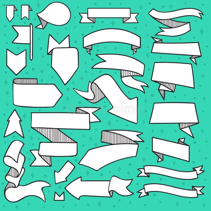 El sistema de 25 cintas y las flechas garabatean hecho a mano con la trama stock de ilustración