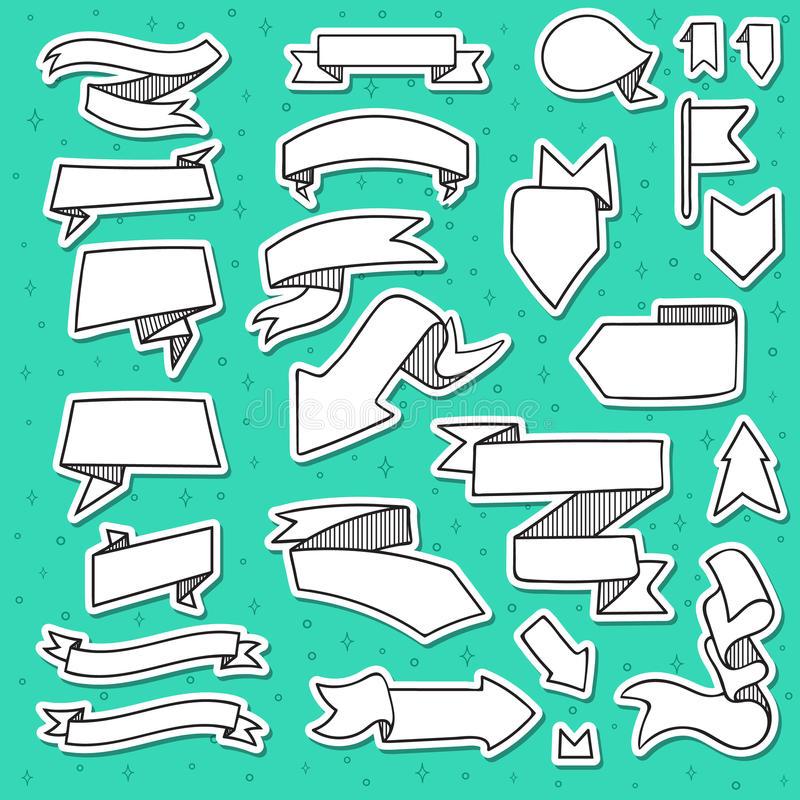 El sistema de 25 cintas y las flechas garabatean hecho a mano con la trama libre illustration