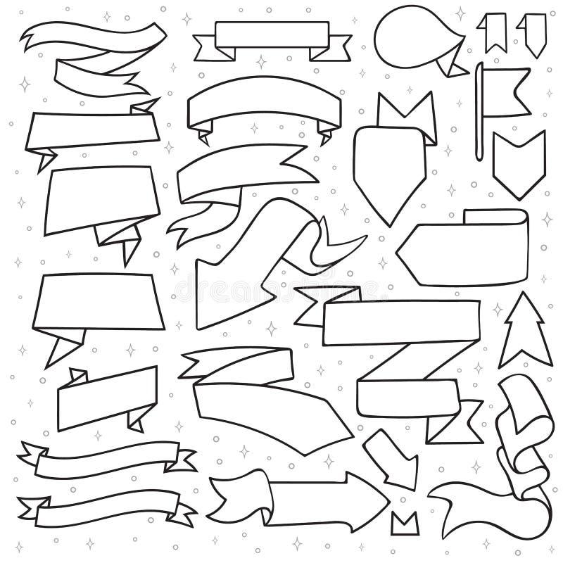 El sistema de 25 cintas y las flechas garabatean hecho a mano monocromático libre illustration