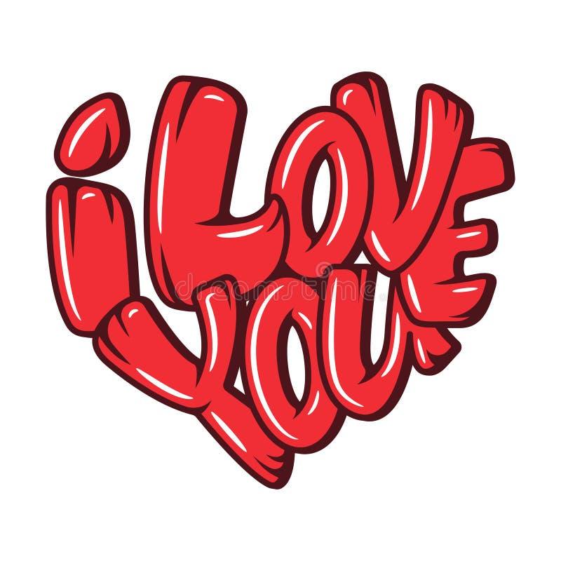 El sistema de corazones grandes con las letras sobre amor, cartel para el día de tarjetas del día de San Valentín, tarjetas de la stock de ilustración