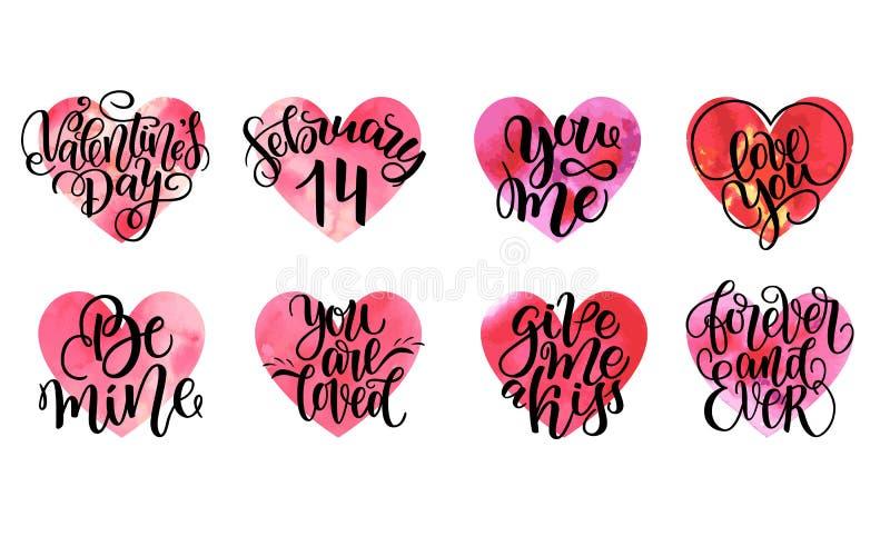 El sistema de corazones y de letras de la acuarela del vector cita sobre amor y la relación Diversa naranja rosada roja a mano libre illustration