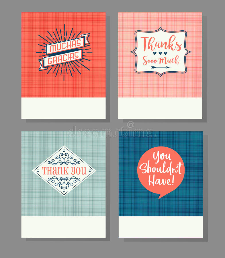 El sistema de cuatro le agradece las tarjetas de felicitación stock de ilustración