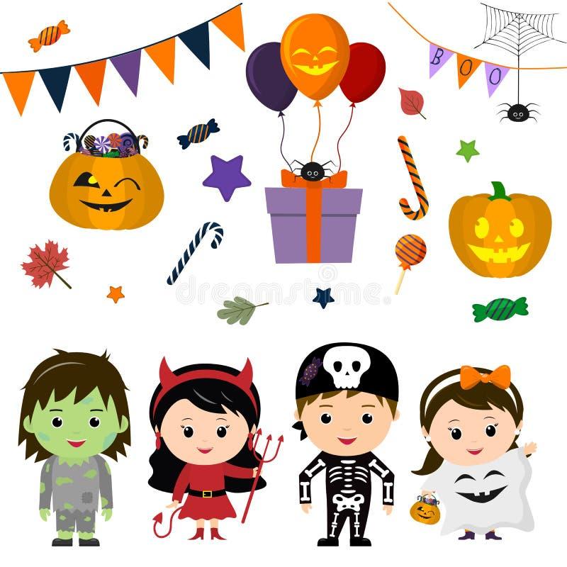 El sistema de cuatro niños lindos en los trajes para Halloween, los elementos, los objetos y los iconos para su diseño en histori stock de ilustración