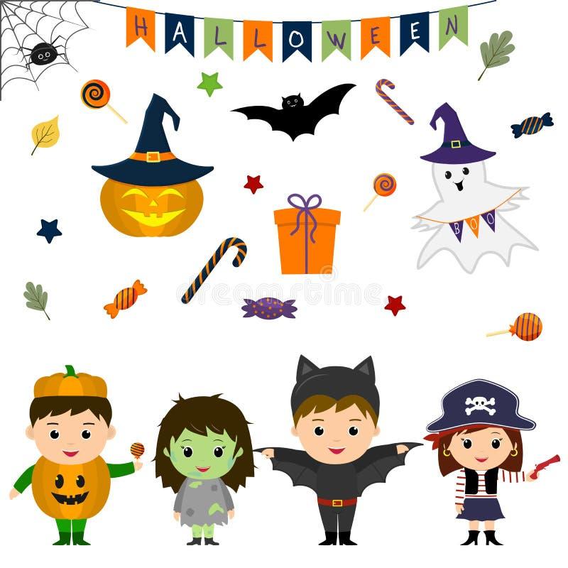 El sistema de cuatro niños lindos en los trajes para Halloween, los elementos, los objetos y los iconos para su diseño en histori ilustración del vector