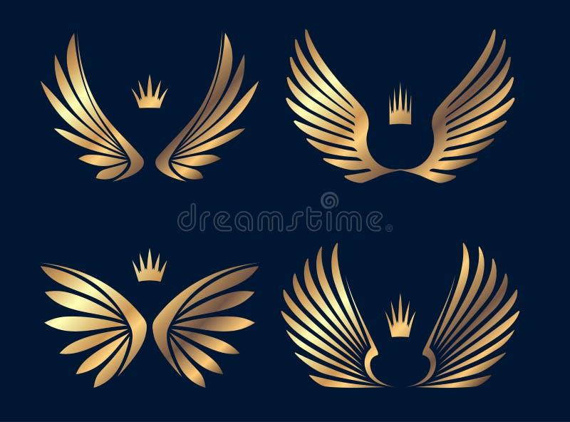 El sistema de cuatro pares de oro se va volando con las coronas Ilustración del vector stock de ilustración