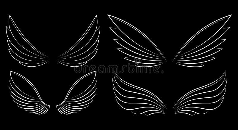 El sistema de cuatro pares resumió las alas del vector del movimiento en un backgr negro ilustración del vector