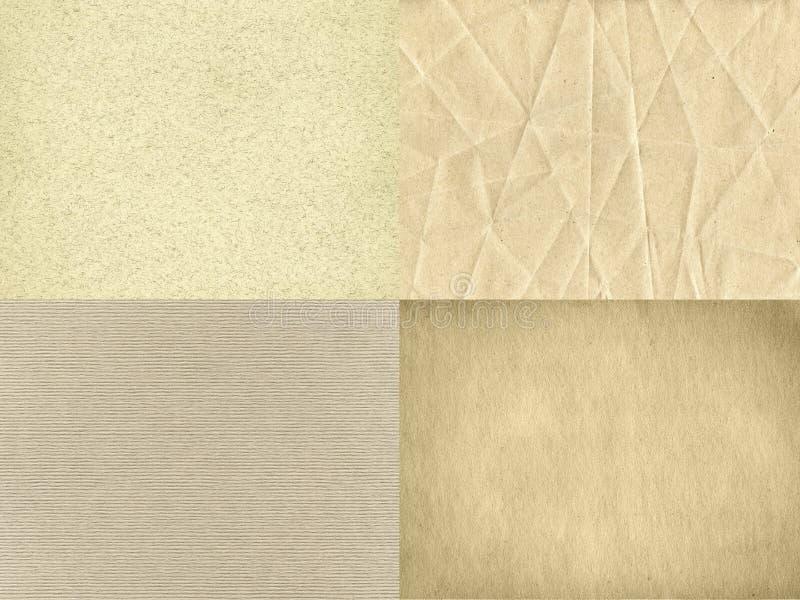 El sistema de cuatro texturas de papel del vintage fotos de archivo libres de regalías