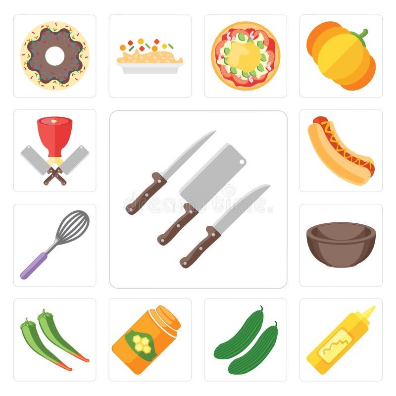 El sistema de cuchillos, mostaza, pepino, miel, pimienta, cuenco, bate, Ho stock de ilustración
