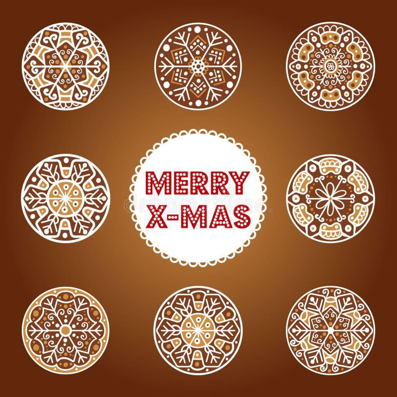 El sistema de decoraciones a mano festivas del copo de nieve de la Navidad diseña Galletas del jengibre con la decoración de la f libre illustration