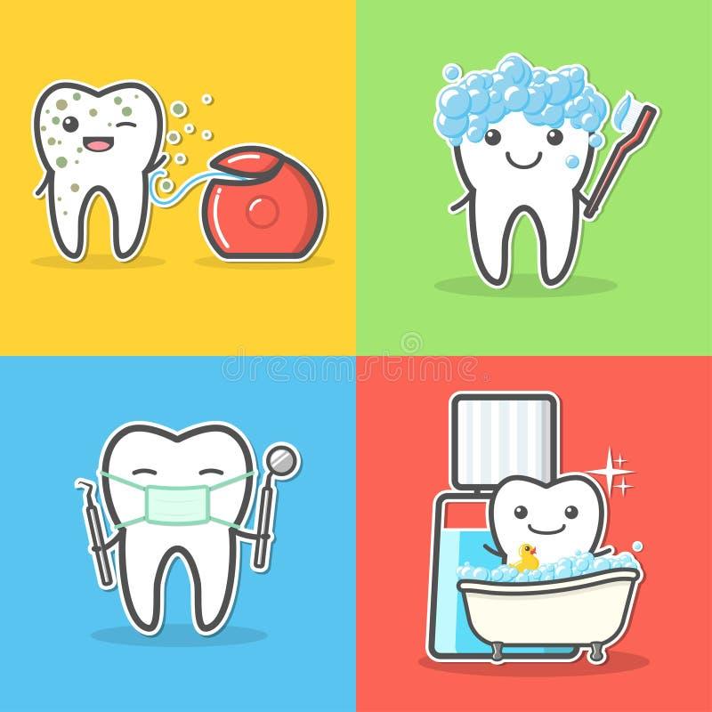El sistema de dientes de la historieta cuida y de conceptos de la higiene stock de ilustración