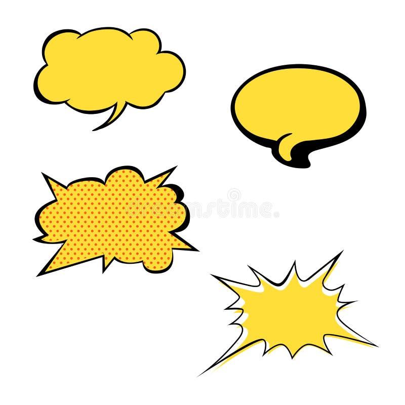 El sistema de discurso en blanco amarillo brillante del vector burbujea Iconos coloridos aislados en el fondo blanco Estilo cómic stock de ilustración