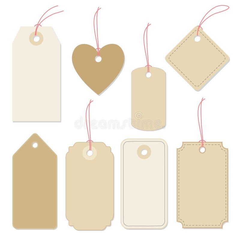 El sistema de diverso papel en blanco marca con etiqueta, las etiquetas con las secuencias diseño plano de los elementos del vect ilustración del vector